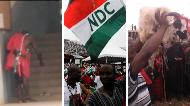 NDC Juju man slaughters a ram at the premises of Ho Electoral Commission