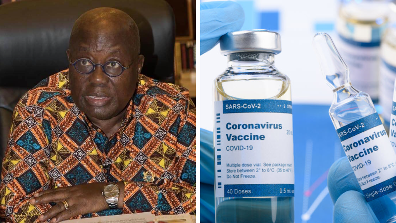 Akufo-Addo first to be injected with the COVID-19 vaccine