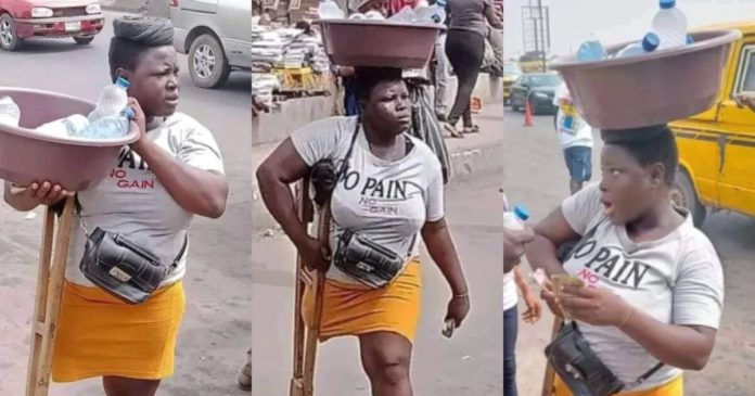 Physically impaired girl in crutches spotted selling 'pure water' on street